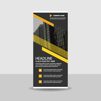 Abstract yellow commercial roll up banner