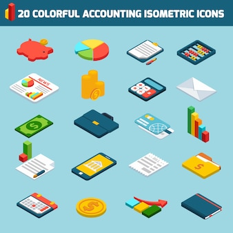 Accounting isometric icons collectio