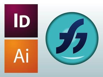 Adobe flash illustrator logos vector
