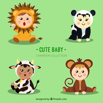 Adorable children with animal costumes
