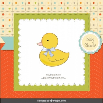 Adorable duck with lopp baby shower card