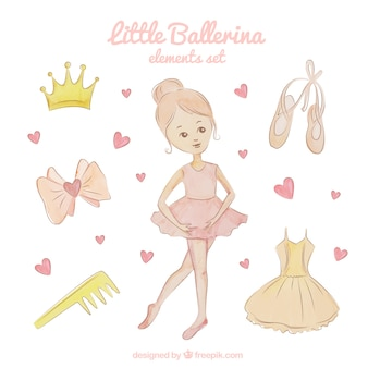 Adorable little ballerina elements set