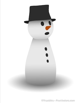 Adorable snowman sculpture with black hat