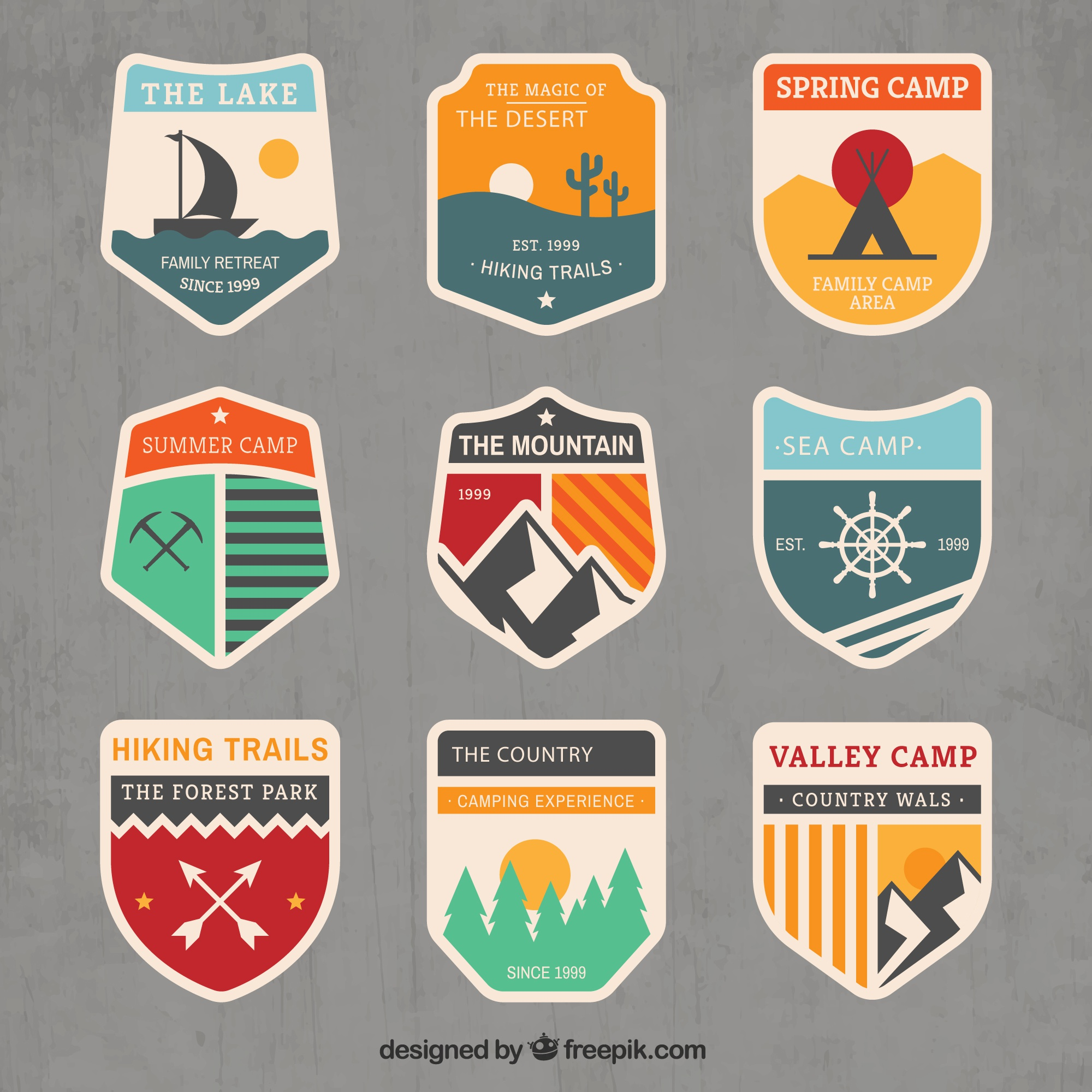 Adventure badges in vintage style