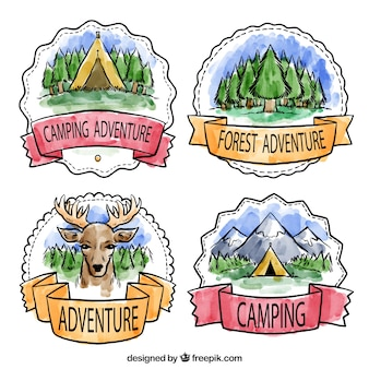 Adventure badges in watercolor style