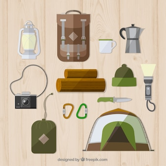 Adventure equipment in flat design