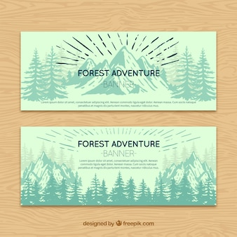 Adventure in the forest vintage banners