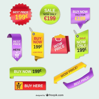 Advertising price tags vector set