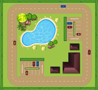 Aerial view of luxurious house