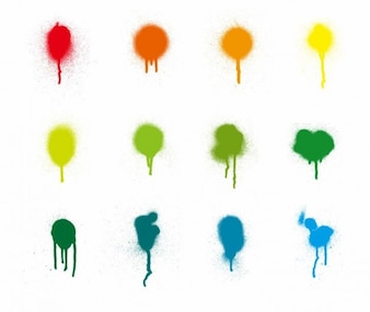 aerosol stains colorful vector set