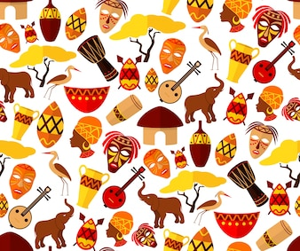 Africa jungle ethnic tribe travel seamless pattern vector illustration