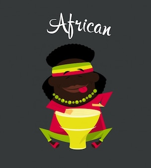 African Boy Flat Illustration