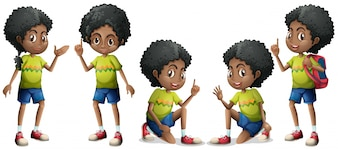 African boy with different positions