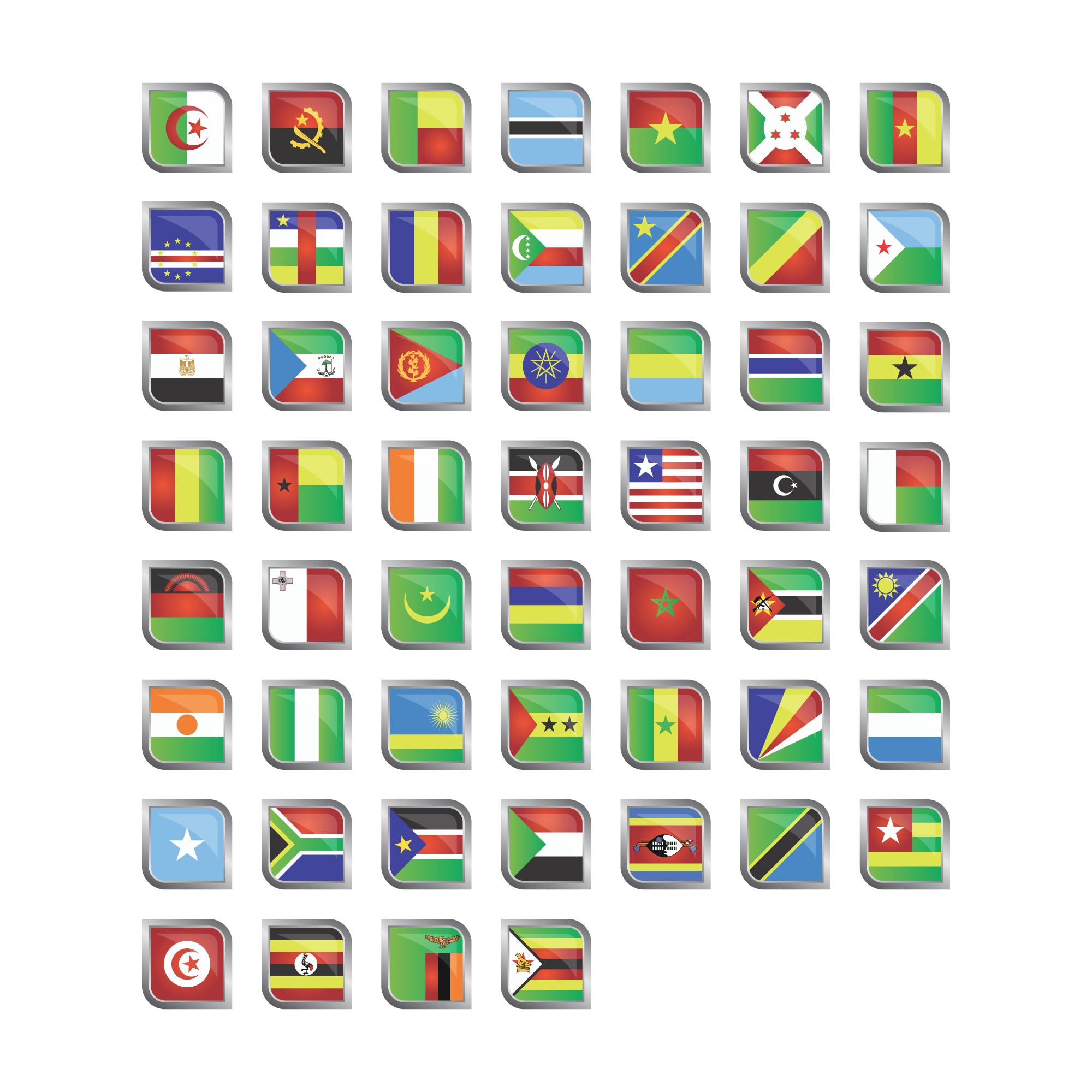 African flags icon collection