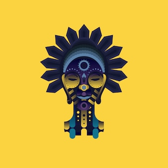 African mask on yellow background