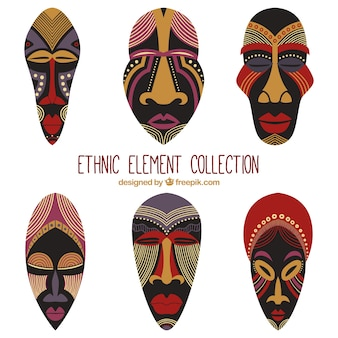 African masks set in ethnic style