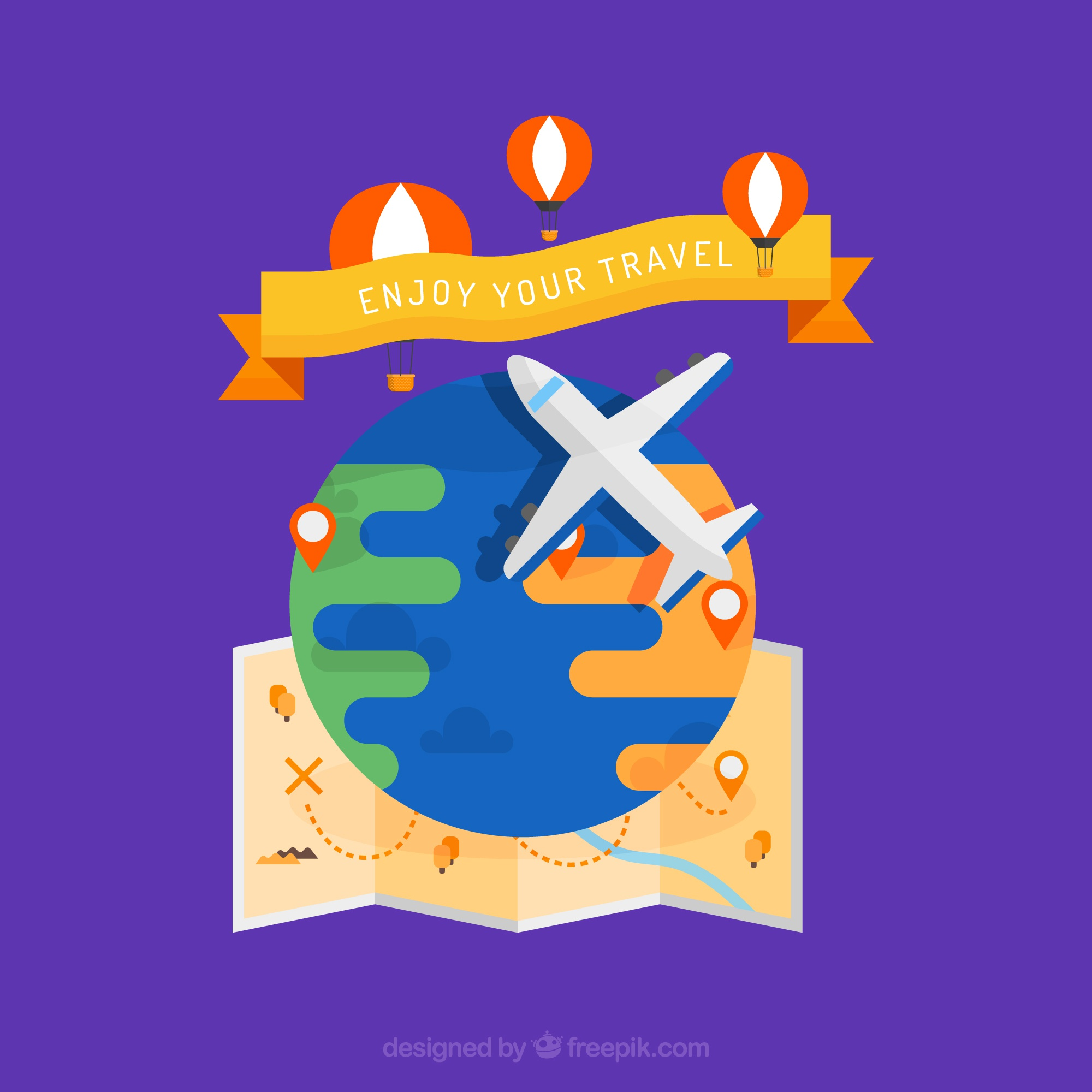 Airplane background with map and hot air balloons in flat design