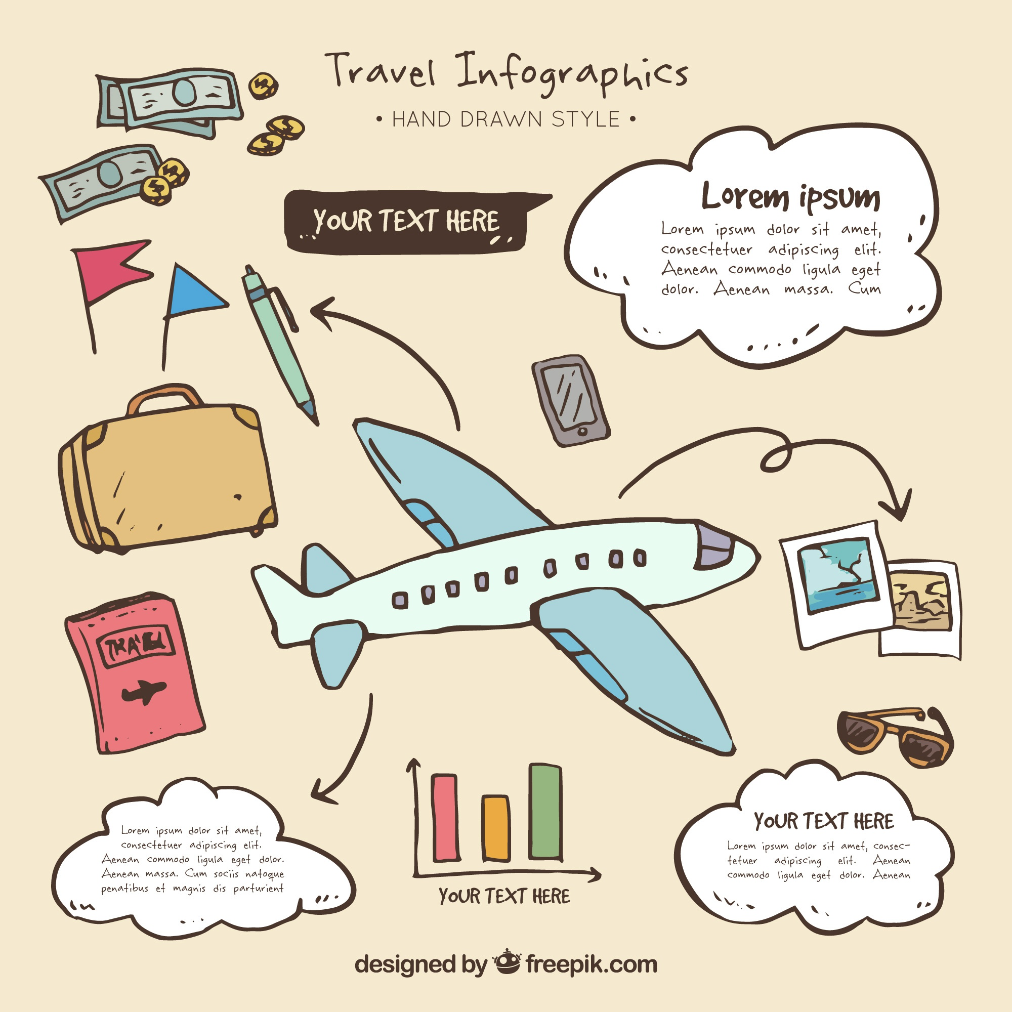 Airplane infographics with hand drawn travel elements