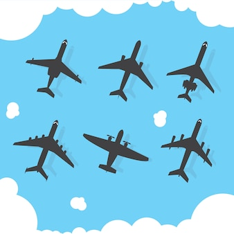 Airplanes silhouette collection