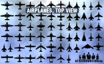 airplanes top view silhouettes