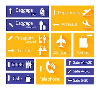 Airport business navigation infographic design elements with arrows and flight arrival departure symbols vector illustration