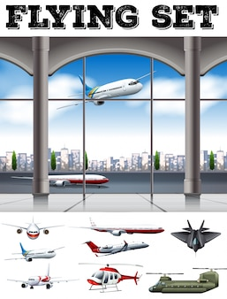 Airport scene with many airplanes illustration