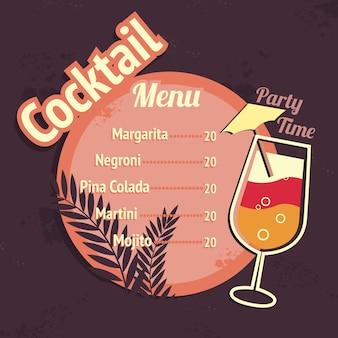 Alcohol cocktails drink restaurant beach cafe menu card template vector illustration