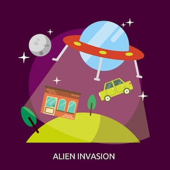 Alien invasion background design