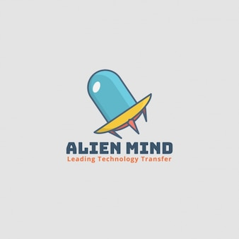 Alien logo, spacecraft on gray background