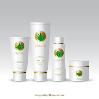 Alo vera set of products in realistic style