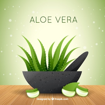 Aloe vera background in flat design