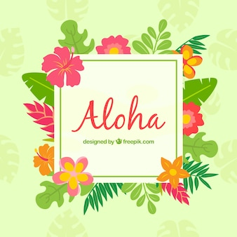 Aloha backgorund with tropical flowers