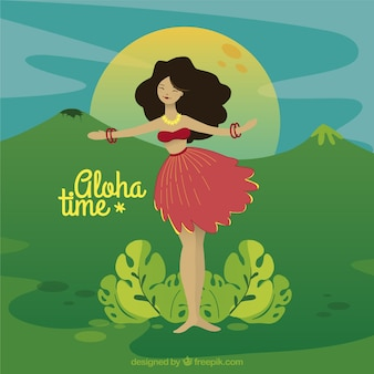 Aloha background, dancing scene
