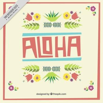 Aloha background with flat flowers