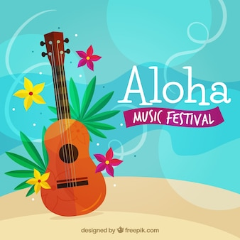Aloha background with guitar and flowers in flat design