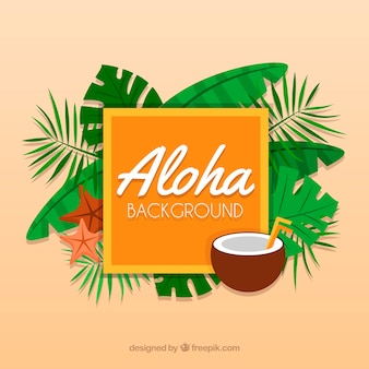 Aloha background with leaves and coconut