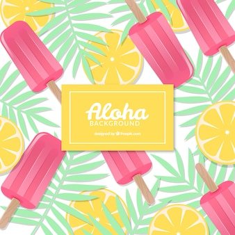 Aloha background with lemon and ice cream