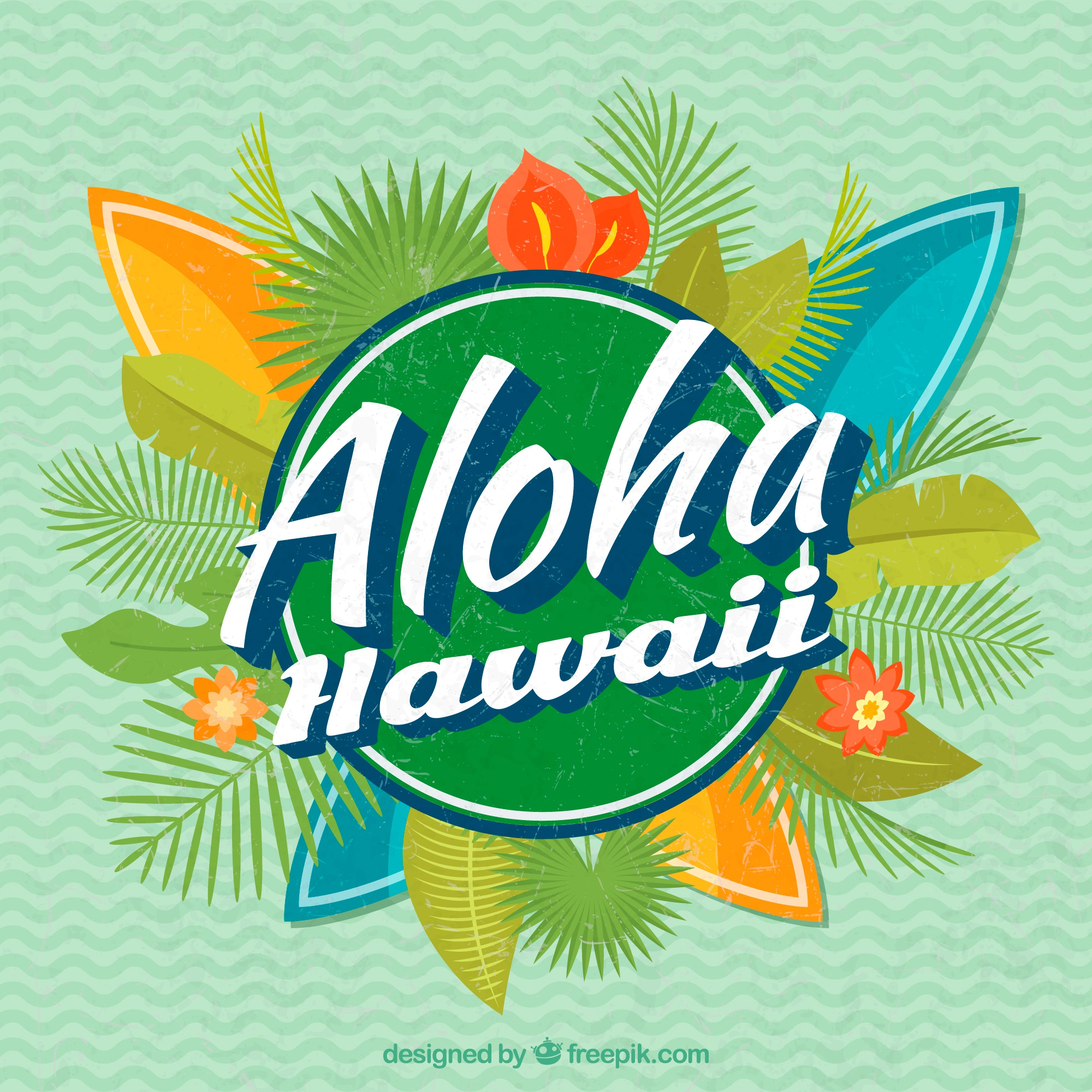 Aloha background with natural decoration