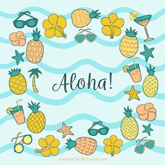 Aloha background with pineapples and hand drawn flowers