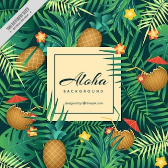 Aloha background with pineapples