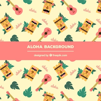 Aloha background with pretty hawaii elements