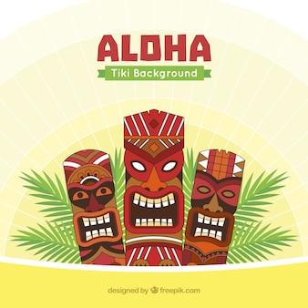 Aloha background with tiki masks and palm leaves