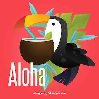 Aloha background with toucan and coconut