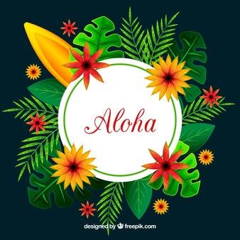 Aloha background with tropical nature