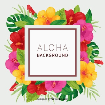 Aloha background with tropical watercolor flowers