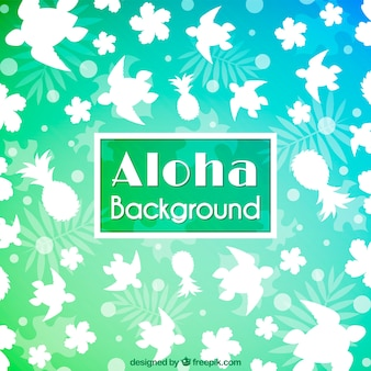 Aloha background with turtle silhouette and flowers