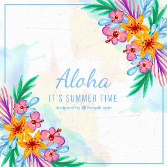 Aloha background with watercolor flowers