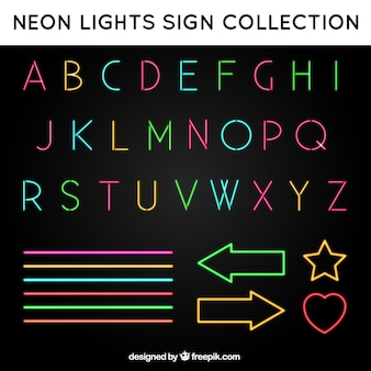 Alphabet and neon signs