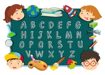 Alphabet font design with kids and stationeries