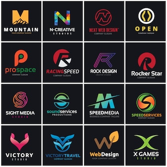 Alphabet letters logo set. Brand identity Collection.